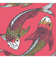 Seamless pattern with hand drawn Koi fish vector image