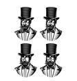 set monochromatic gentlemen with different vector image vector image