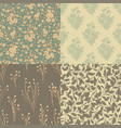 set of floral backgrounds in vintage style vector image vector image