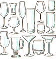 Set of isolated cocktail glasses vector image