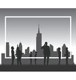 Silhouette people with copyspace frame vector image vector image