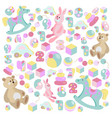 teddy bear rocking horse pink rabbit toys set vector image