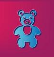 teddy bear sign blue 3d vector image vector image