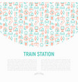 train station concept with thin line icons vector image vector image