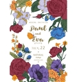 Wedding invitation with wreath of anemones and vector image vector image