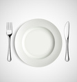 White plate fork and knife vector image