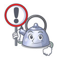 with sign cartoon whistling kettle for gas cooker vector image