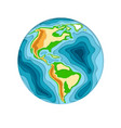 world planet earth in 3d paper cut style design vector image vector image