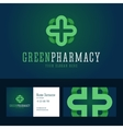 Green pharmacy logo and business card template vector image