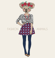 fashion animal cute koala hipster girl character vector image