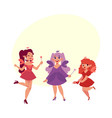 fairy girls in dresses with wings and wands vector image