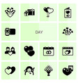 14 day filled icons set isolated on white vector image vector image