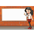 A lady standing beside the empty signboard vector image vector image