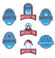 amusement park sport labels set design template vector image vector image