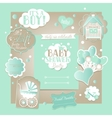 Baby Boy Shower Set with greeting design vector image vector image