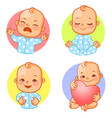 baby emotions sticker set cry happy meditate vector image vector image