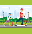 cartoon dad and father riding on scooter in park vector image vector image