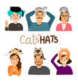 cats hats cartoon icons vector image vector image