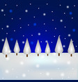 christmas snowy forest with blue sky postcard for vector image