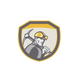 Coal Miner Hardhat Holding Pick Axe Shield Retro vector image vector image