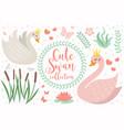 cute swan princess character set objects vector image vector image