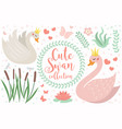 cute swan princess character set of objects vector image