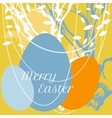 Easter eggs on background with tree and leaves vector image vector image