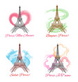eiffel tower signs on white background vector image vector image