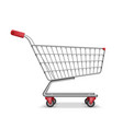 empty metallic supermarket shopping cart side view vector image