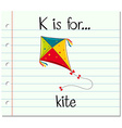 Flashcard letter K is for kite vector image vector image