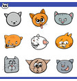 funny cartoon cats heads collection vector image