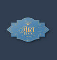 gold art deco label template in 3d isolated vector image vector image