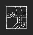gps map chalk white icon on black background vector image