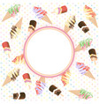 ice cream with circle copy space vector image vector image