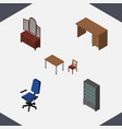 isometric design set of chair table office and vector image