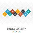 mobile security trendy ui template infographics vector image