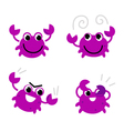Pink crab in various poses isolated on white vector image