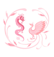 Pink Dragon and phoenix for symbolism in Chinese vector image vector image