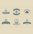 restaurant logos templates set vector image