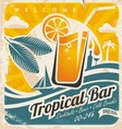 Retro poster template for tropical bar vector image
