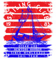 sailing club tee poster graphic vector image vector image