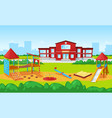 school building and yard playground for kids city vector image vector image