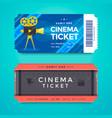 set cinema tickets with retro movie camera vector image