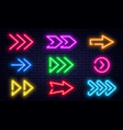 set glowing neon arrows glowing neon arrow vector image vector image