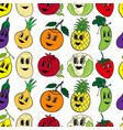set of 10 funny cartoon vegetables and fruit vector image