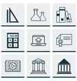 Set of 9 school icons includes distance learning vector image