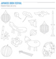 Set of Japanese summer Bon Festival attributes vector image