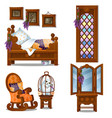 set wooden furniture in style halloween vector image vector image