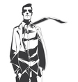 Silhouette of gentleman with a tie vector image