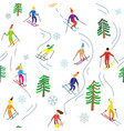 ski sport in mountains seamless pattern vector image vector image